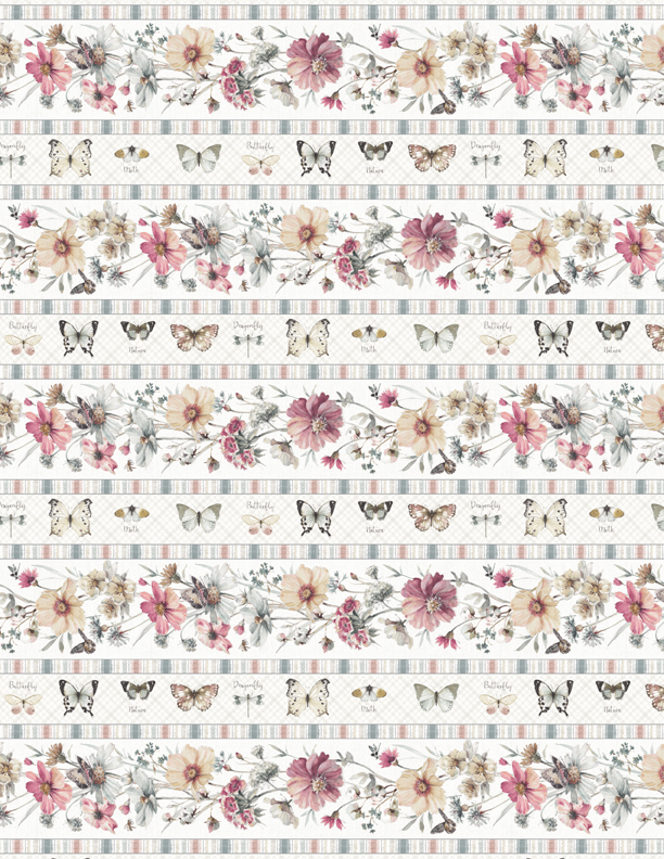 A Country Weekend     Butterfly Floral Stripe       Cream