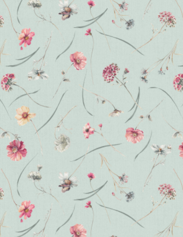 A Country Weekend     Tossed Flower Stems   Aqua
