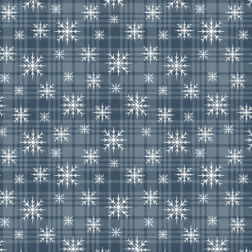 Wooly Snowflake Plaid    Denim