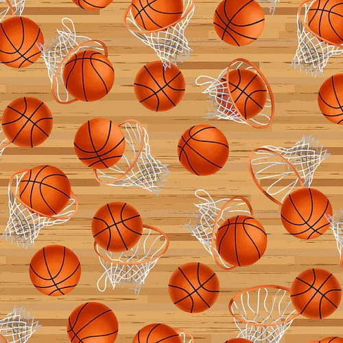 Love of The Game   Tan Hoops with Basketballs