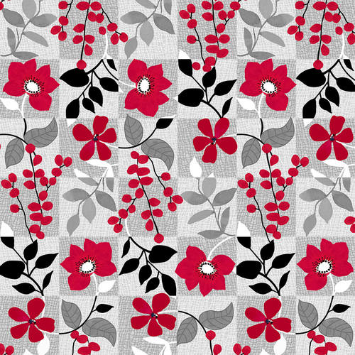 Red Alert    Floral with Squares    Gray