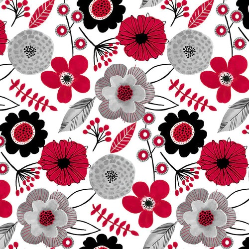 Red Alert   Large Floral   White