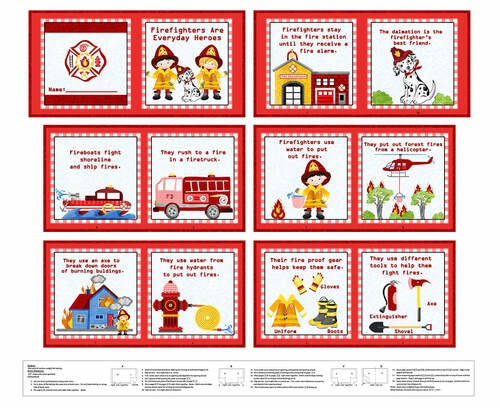 """Everyday Heroes Firefighter  Book Panel     Red     36"""" x 42"""""""