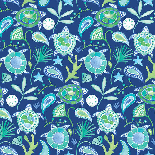 Beach Bound   Turtles with Paisley Digital Print   Dr. Blue