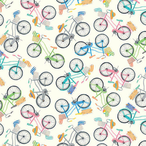 Beach Bound    Bikes Digital Print      Ivory