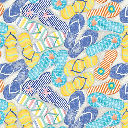 Beach Bound    Flip Flops Digital Print     Lt Blue