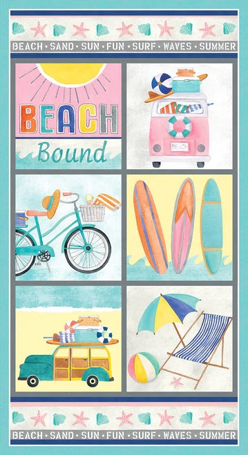 "Beach Bound Digital Print  Panel   Aqua   24"" x 42"""
