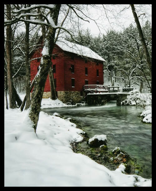 """Watermill Country Digital Panel Watermill with Snow White 36"""" X 42"""""""