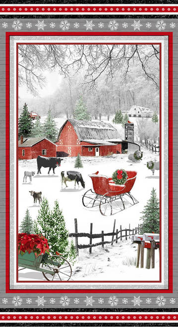 Holiday Homestead  Farm Scene Panel