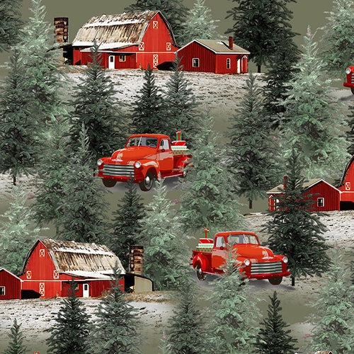 Holiday Homestead Trucks and Barn Scene