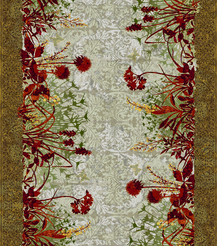 Floral Border Red/ Orange Wild Flowers