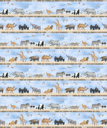 Noah's Ark Border Stripe Blue
