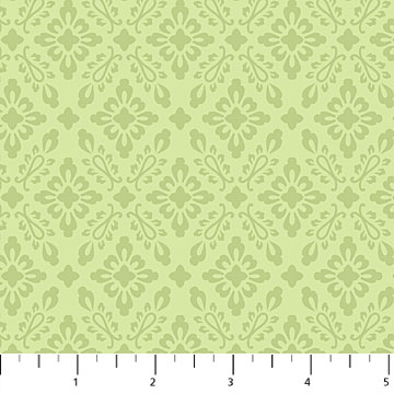 Orchids In Bloom  Mini Damask Green