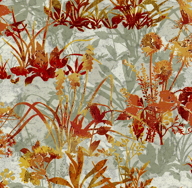 Large Floral Red/Orange Wild Flowers