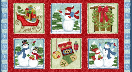 Winter Joy Panel Boxes-Red