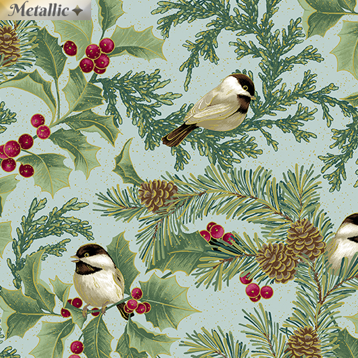 Chickadees and Holly Allover SeaMist