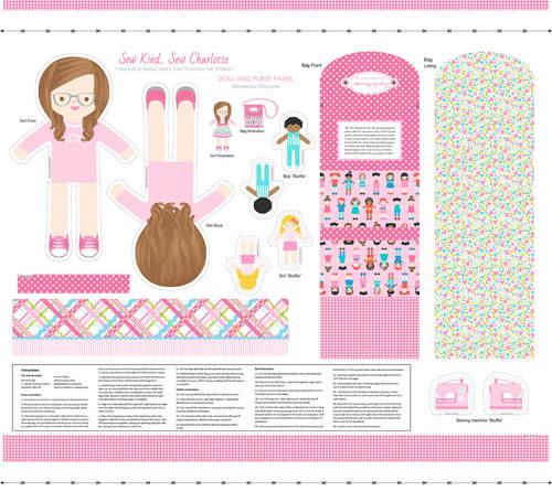 Sew Kind Pink 36 x 44 Doll Panel