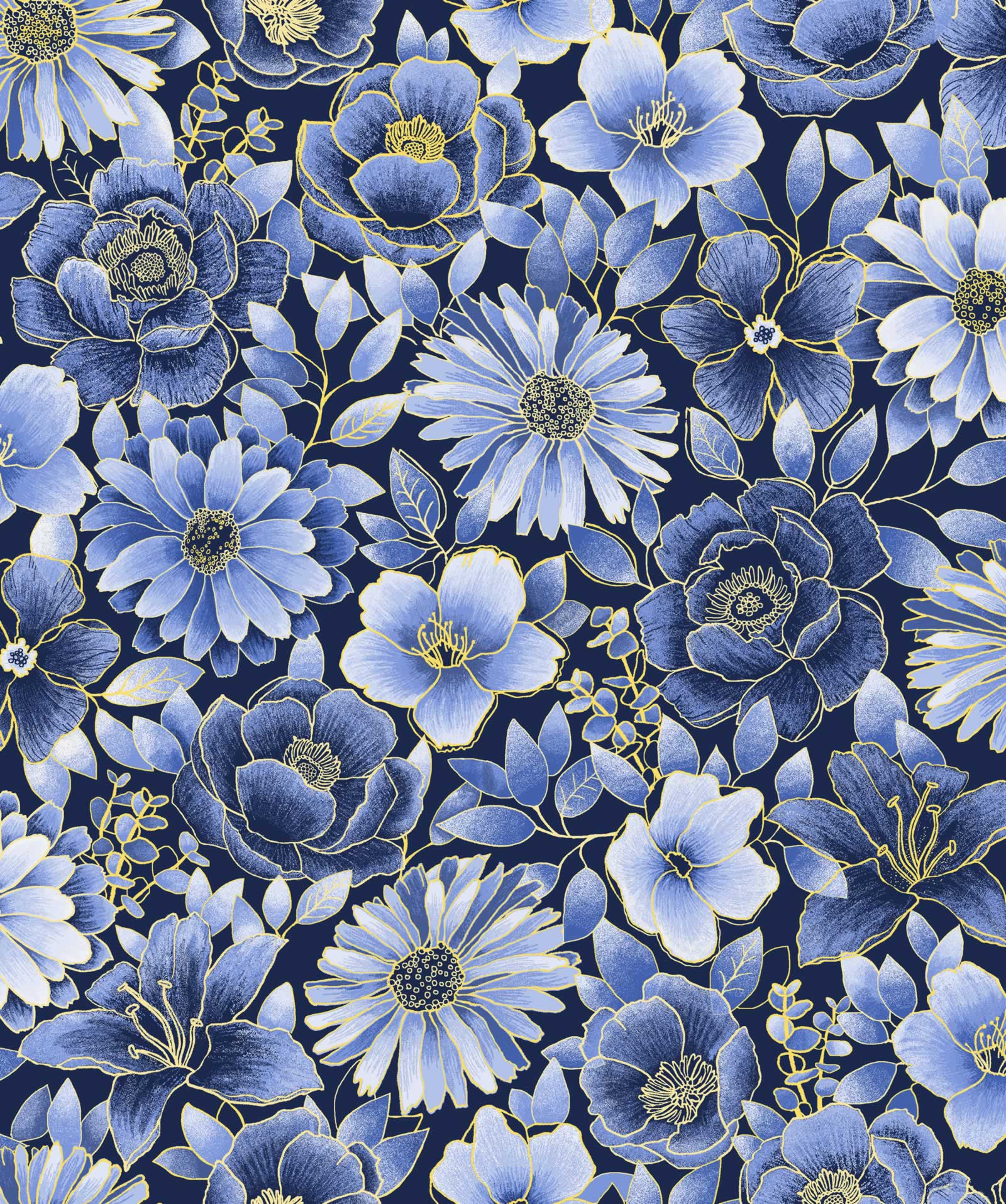 Midnight Gardens Floral -  Blue and Yellow