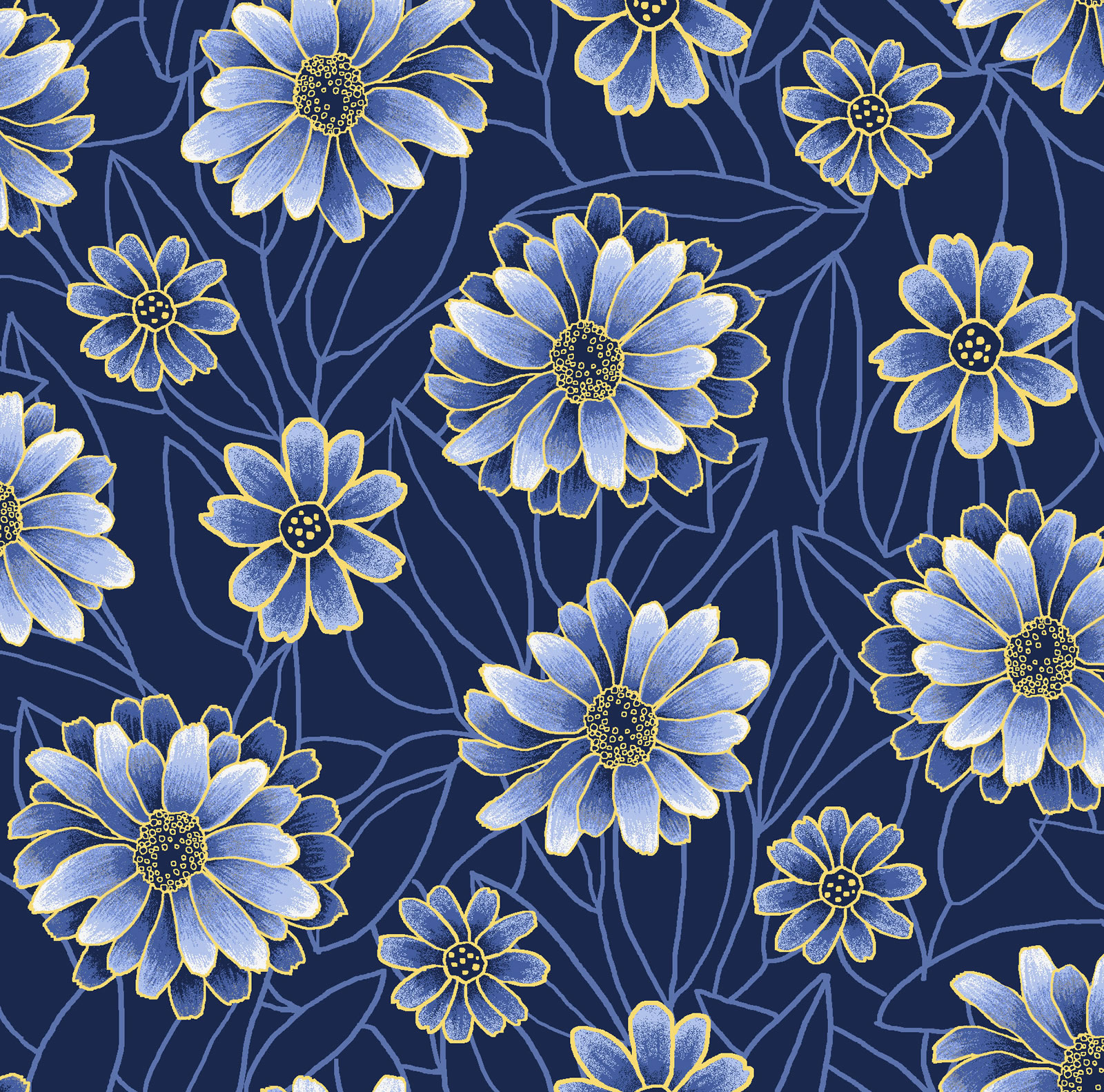 Midnight Gardens Blossoms  - Dark Blue