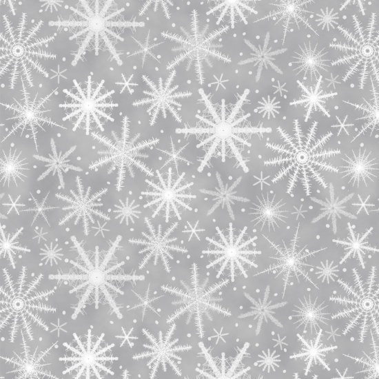 Holiday Wishes - White Snowflakes on gray