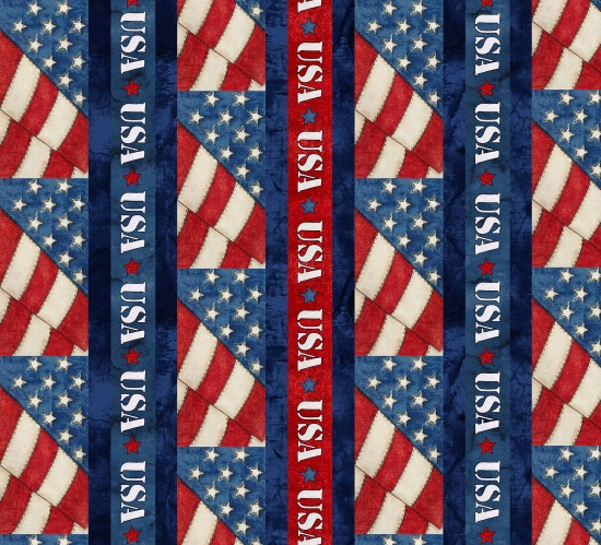 American Honor - red cream and blue border stripe