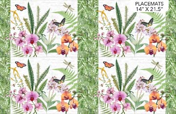 "Orchids In Bloom   Placemats Panel    White Multi    28"" x 42"""