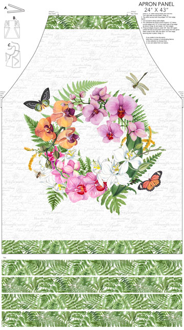 "Orchids In Bloom   Apron Panel   24"" x 43"""