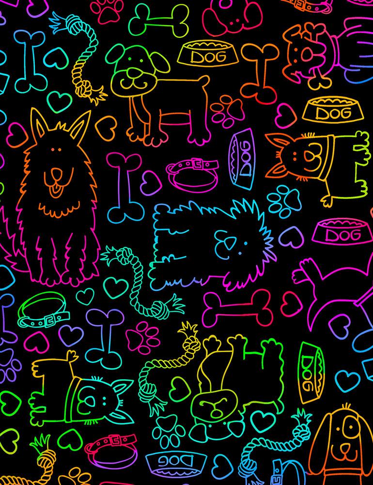 Rainbow Dog Outline  Bright