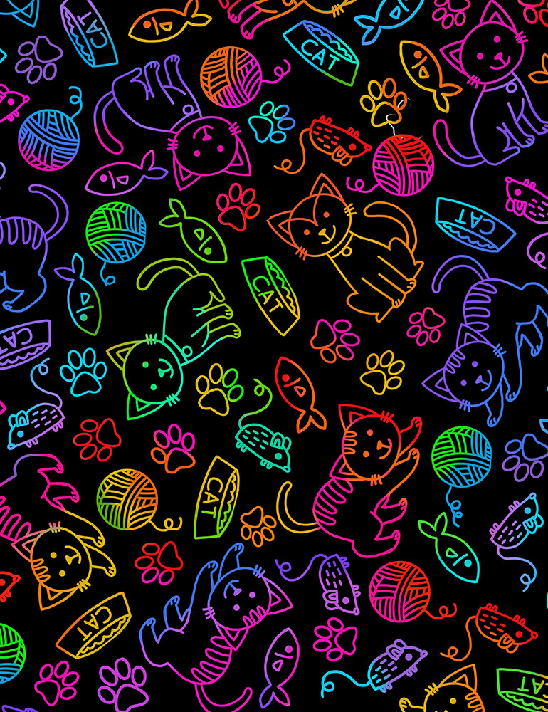 Rainbow Cat & Mouse Outline Bright