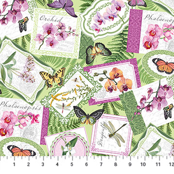 Orchids In Bloom   Medallion Toss Digital Print   Green Multi