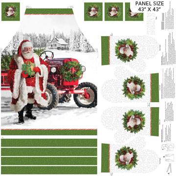 "Here Comes Santa       Apron & Oven Mitt Panel  43"" X 43"""