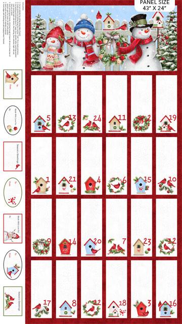 "Winter Welcome    Advent Calendar Panel  White Multi  43"" x 24"""