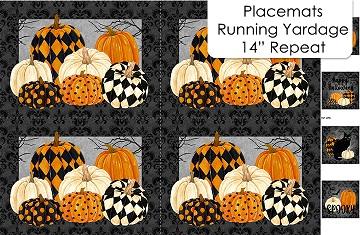 "Black Cat Caperers    Placemat Panel (4 placemats)  28"" x 42"""
