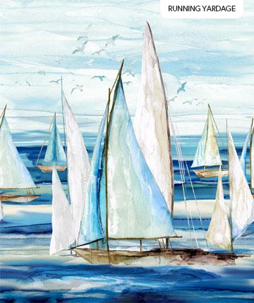 Sail Away    Border Boats (Running Yardage)   Indigo Multi