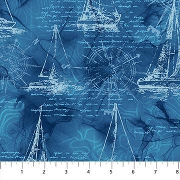 Sail Away   Sail Boat Drwin   Indigo Multi