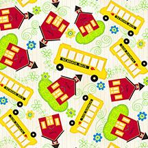 School & School Bus Toss Ivory