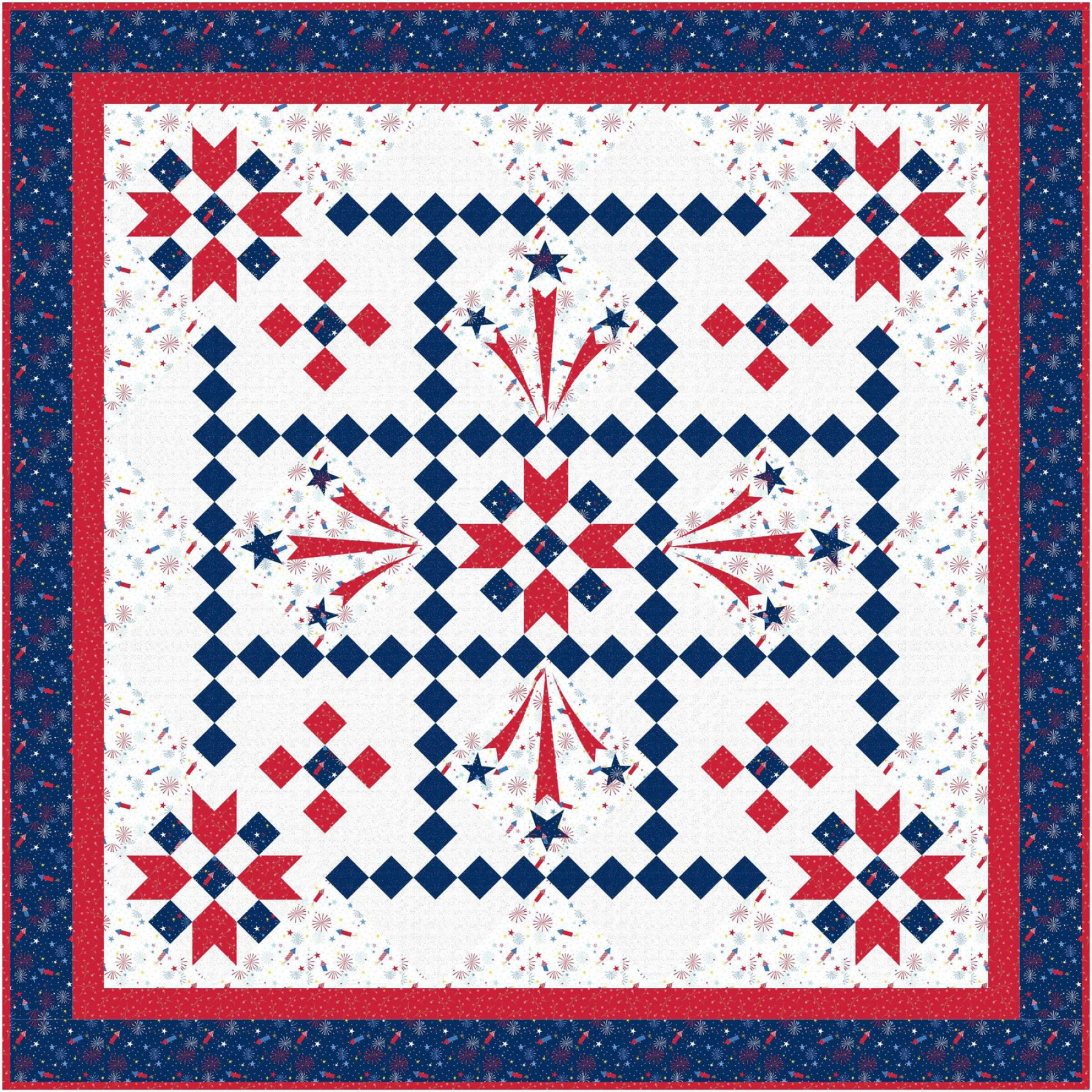 Red White and Bloom Liberty's Smile Quilt Kit