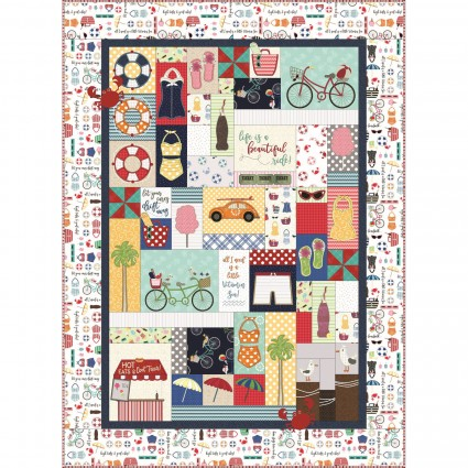 Vintage Boardwalk Quilt Fabric only Kit Sewing Version