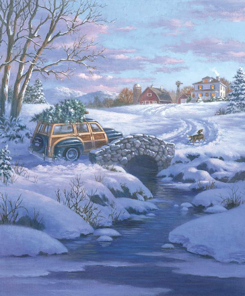 A Classic Christmas Panel Woody Wagon