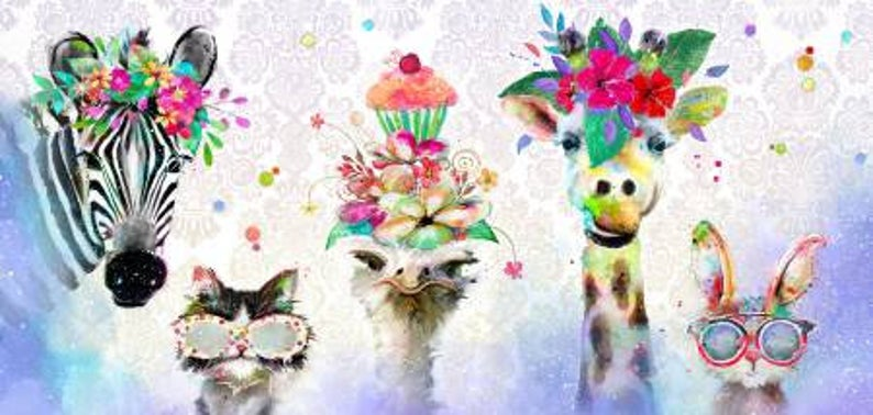 "Party Animals Digital Print    Linear Panel    22"" x 44"""