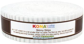 Kona Cotton White Skinny Strips  40 Pieces